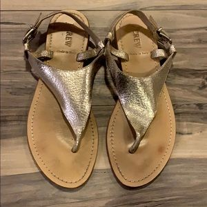 J Crew Metallic Thong Sandals